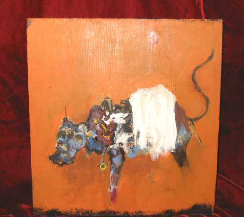 Abstract Oil Painting on Wood Animal Bull Nyugen E. Smith