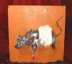 Abstract Oil Painting on Wood Animal Bull Nyugen E. Smith - $500.00