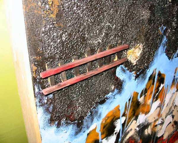 Mixed Media NYC Fire Abstract Art Painting Nyugen E. Smith