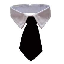 ANIAC Adjustable Dog Cat Neck Tie Puppy Pet Costume White Collar S, Black - $11.42