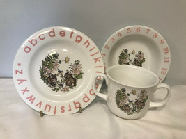 """Baby Child Plate Bowl Cup ABC's 123""""s Rabbits Floral Dishes G3 - $15.97"""