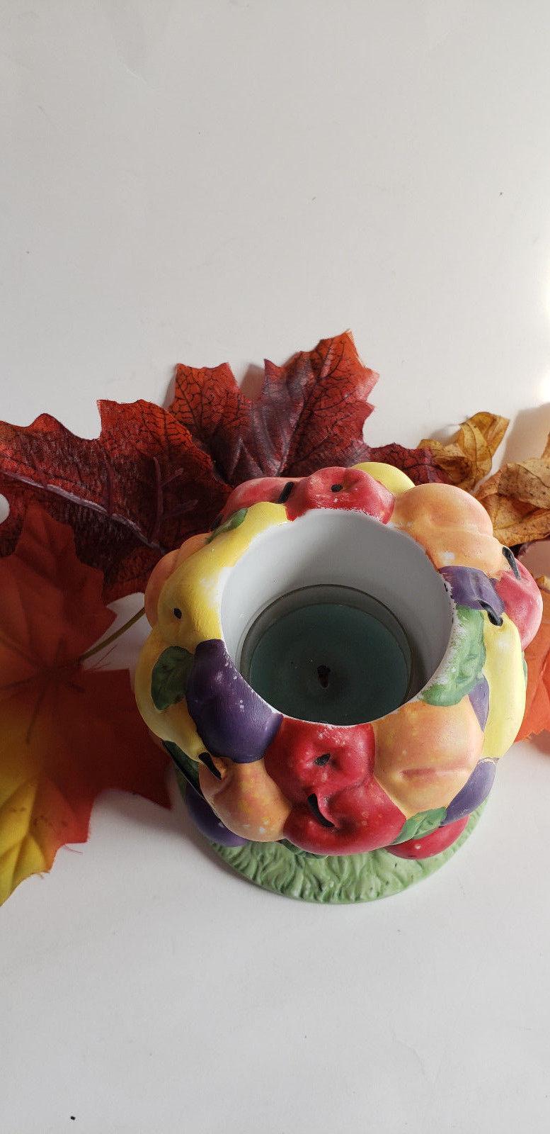 PartyLite Fruit Medley Votive Tealight Holder Fall Autumn Basket Decoration
