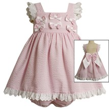 Bonnie Jean Baby Girl 3M-24M Pink White Gingham Plaid Bow Back Dress
