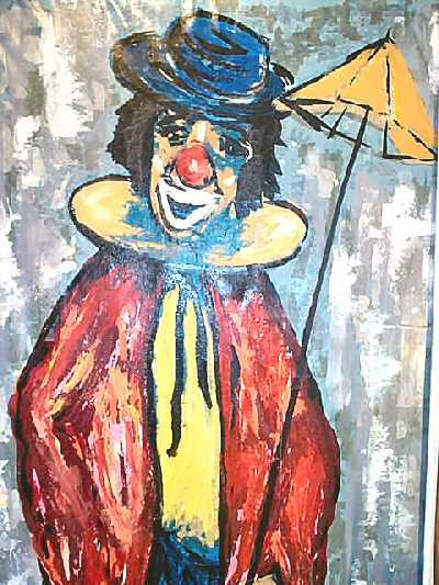 Antique Oil Painting Clown Grifoll Spain Signed Framed