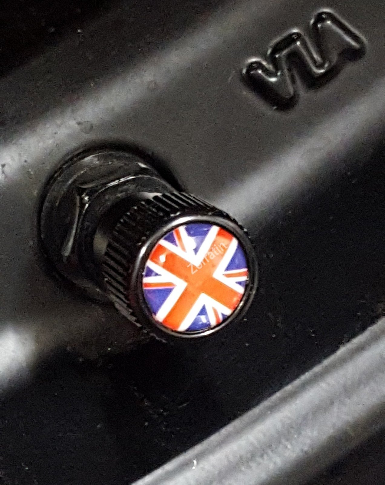 4x Zorratin Black Union Jack British Flag Tire Valve Stem Cap Cover for BMW Mini for sale  USA