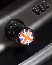 4x Zorratin Black Union Jack British Flag Tire Valve Stem Cap Cover for ... - $11.87