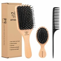 Boar Bristle Hair Brush and Comb Set for Women Men Kids, Best Natural Wooden Pad