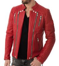 Mens Leather Jacket Stylish Genuine Lambskin Motorcycle Bomber Biker MJ 165 - $149.47