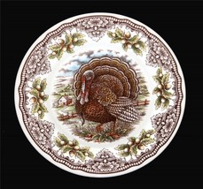 4 Thanksgiving Victorian English Pottery Turkey Chestnuts Salad Plates E... - $42.99
