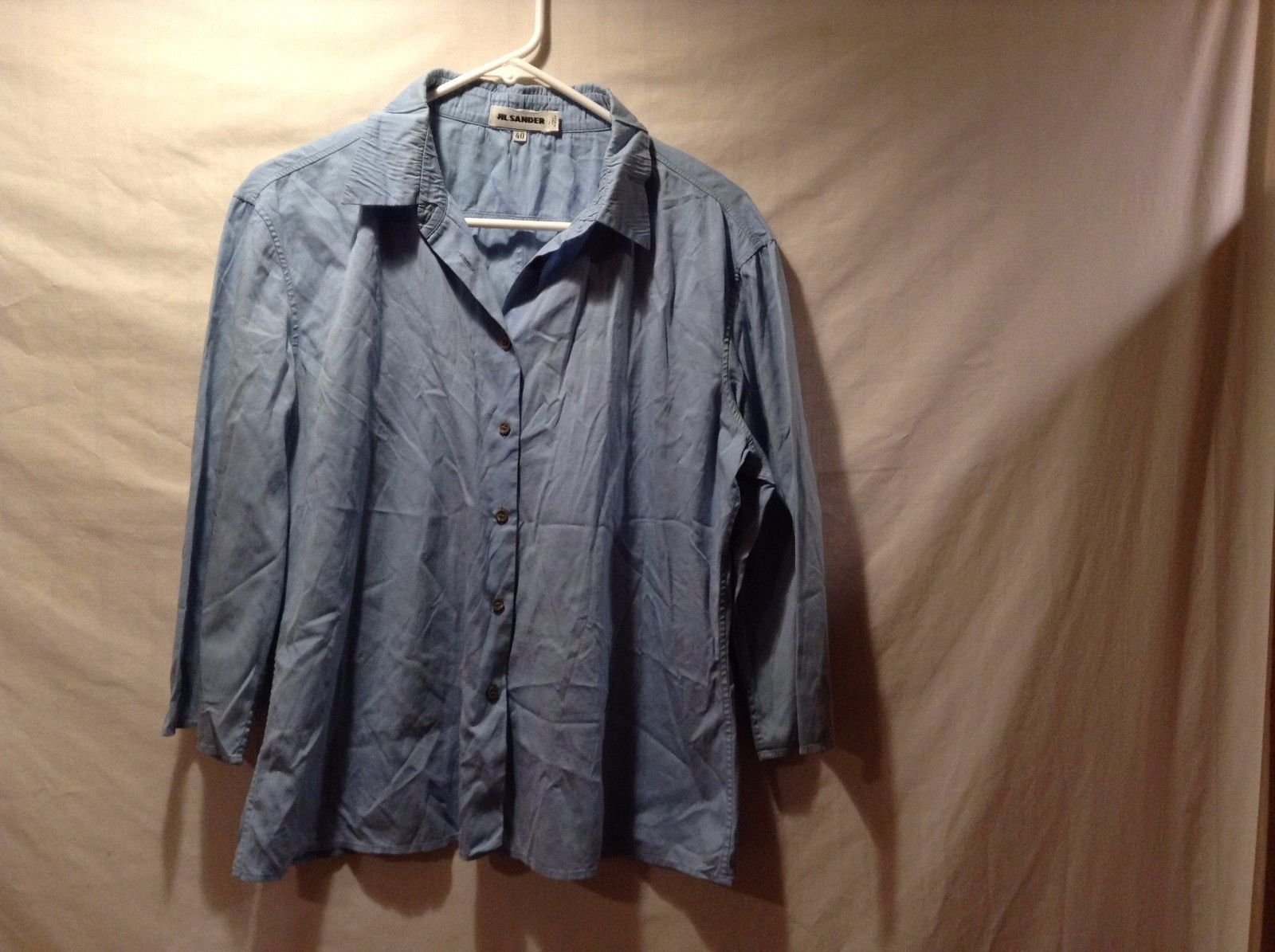 Ladies Italian 3/4 Sleeve Button Down Blue Shirt By Jil Sander Sz 40