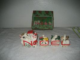 Vintage Christmas Noel Express candle holders ceramic chalkware santa ja... - $74.24