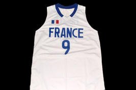 Tony Parker #9 Team France Men Basketball Jersey White Any Size image 1