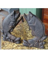 Vintage Mid Century Pair Cast Iron Fish Leaping Bass Trout Fish Andirons... - $399.99