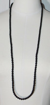AVON WN Black Bead Beaded Acrylic Long Flapper Necklace Vintage - $13.86