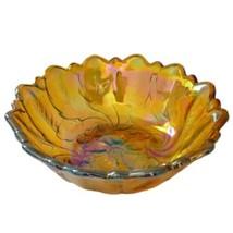 Wild Rose Carnival Glass Bowl Dish Halloween Indiana Glass Iridescent Vi... - $29.99