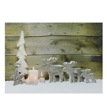 Northlight LED Country Rustic Reindeer and Candles Christmas Canvas Wall... - $14.84