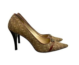 Michael Kors Signature Logo Pumps Heels Pointed Toe Size 7.5 Brown - $59.79
