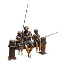 "44""H x 63""W Family Fishing Trip Lost Wax Life-Size Cast Bronze Statue - $9,799.95"