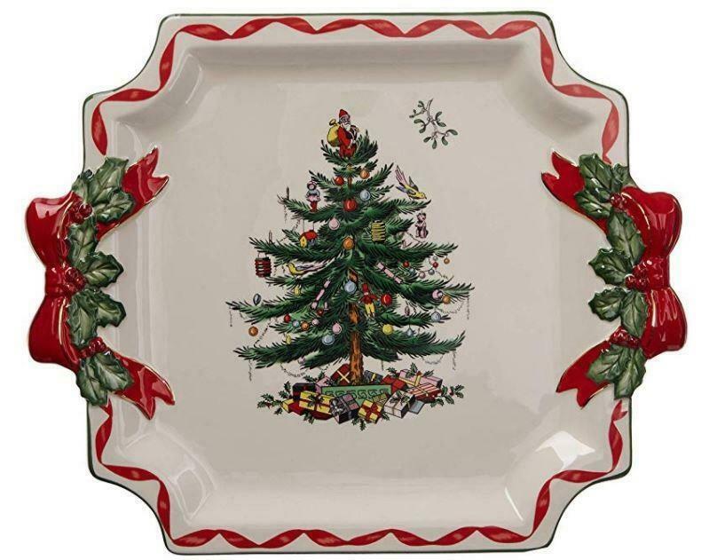 SPODE Christmas Tree Sculpted Ribbons Holly Handles Hndpnted Square Platter NIB - $59.99