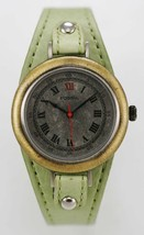 Fossil Watch Womens Stainless Steel Antiqued Silver Gold Leather Green Q... - $35.13