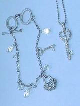 Crystal glass Bracelet Key&Heart w/Crystal Key to My Heart Necklace set ''NICE' - $11.26