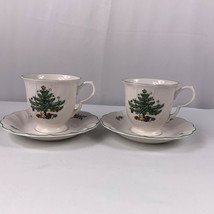 Nikko Happy Holidays Footed Cups and Saucers Christmas Tree Swirled Japa... - $22.72