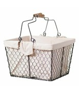 Wire Table Caddy With Liner in smokey Black Tin -Has Handles - $38.00