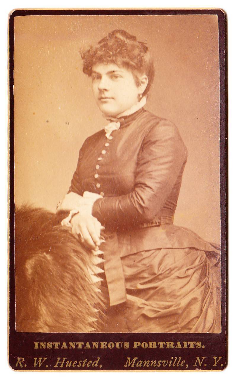 Antique CDV Photo Young Woman Fur Jewelry Mannsville NY