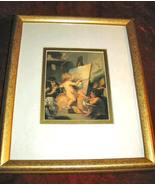 Beautiful Baby Angel Art Print Glassed Matted Gold Framed - $12.00