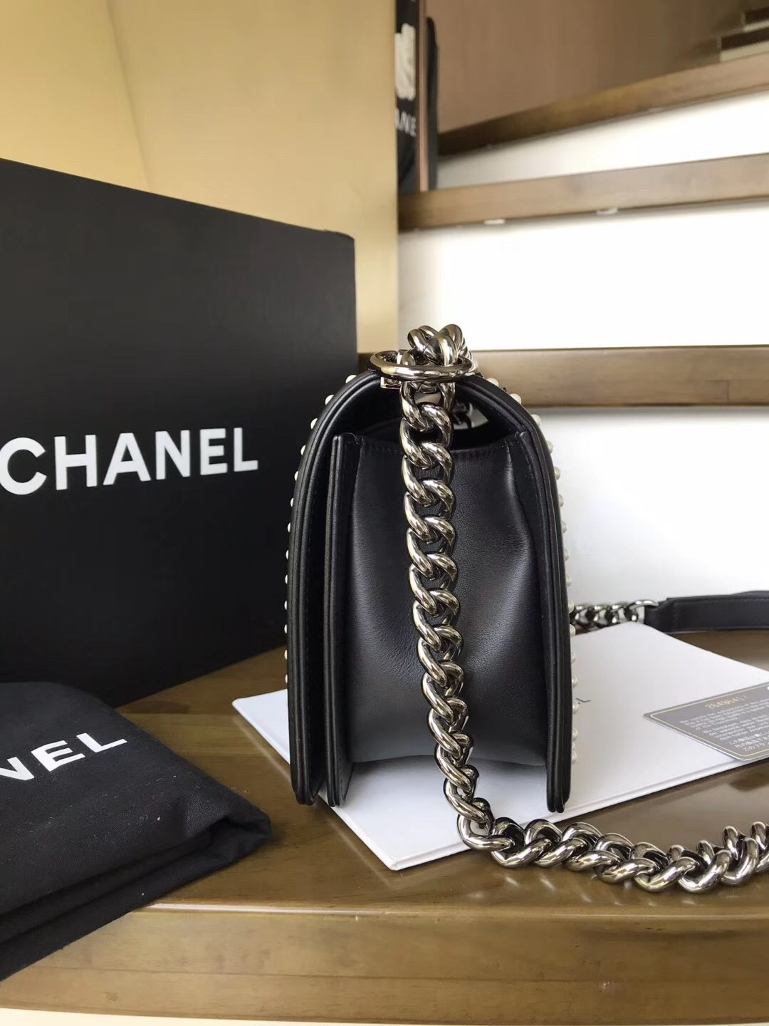 BNIB AUTHENTIC 2019 CHANEL BLACK Limited Edition Leather Medium Boy Flap Bag