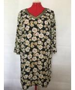 Moda H White Yellow Flowers On Black 3/4 Sleeve Back Zip V-Neck Shift Dr... - $15.40