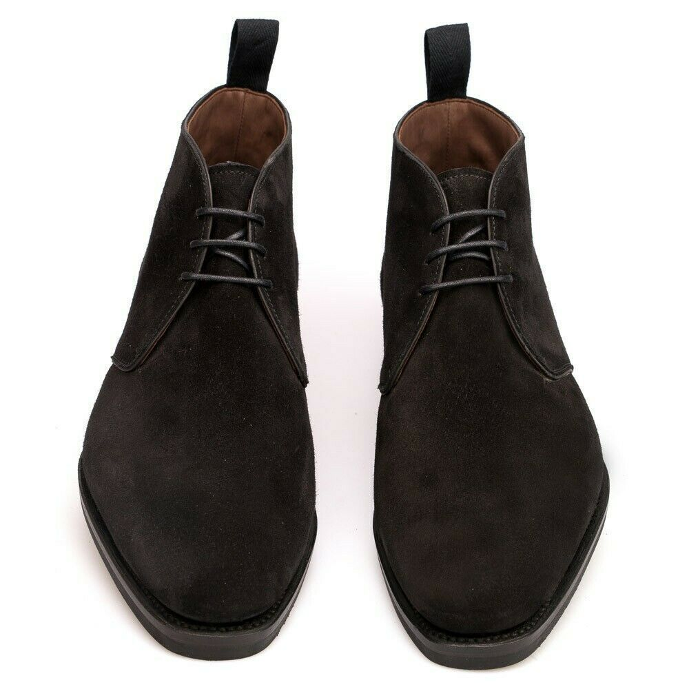 Handmade Men's Black Suede High Ankle Lace Up Chukka Boots