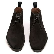 Handmade Men's Black Suede High Ankle Lace Up Chukka Boots image 1