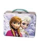 Disney Frozen Anna and Elsa Tin Lunch Box Carry Case Purple - $14.99