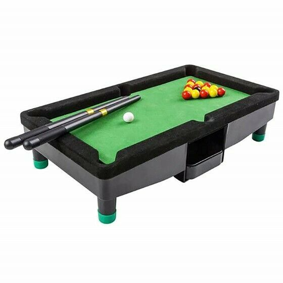 "9"" Travel Mini Pool Table 2 Sticks 16 Balls & Rack Kids / Office Desk Decoration"
