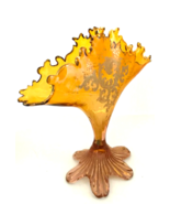Rare Antique Fan Vase Amber Glass from Estate Sale Stunning Piece 9 inch... - $482.13