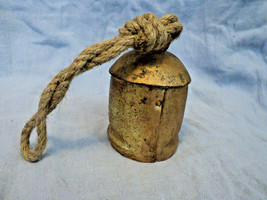 Primitive hand made metal bell wooden tongue rope handle painted brass L... - $9.49