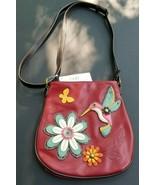 Chala Purse Messenger Crossbody Bag  HUMMINGBIRD Burgundy Red - $45.59