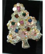 Vintage Margarita Aurora Borealis Xmas Tree Brooch Pin  flower Rhineston... - $27.71