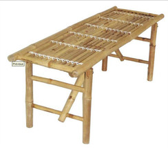 Bamboo Tiki Folding Bench Patio Deck or Indoor Set of 3 - $156.75