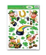 Lucky Irish LEPRECHAUN POT-O-GOLD SHAMROCKS CLINGS St Patrick Window Dec... - $3.89