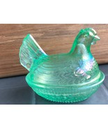 "Vintage Imperial by Lenox ""Meadow Green"" Carnival Glass Hen on Nest  - $45.00"