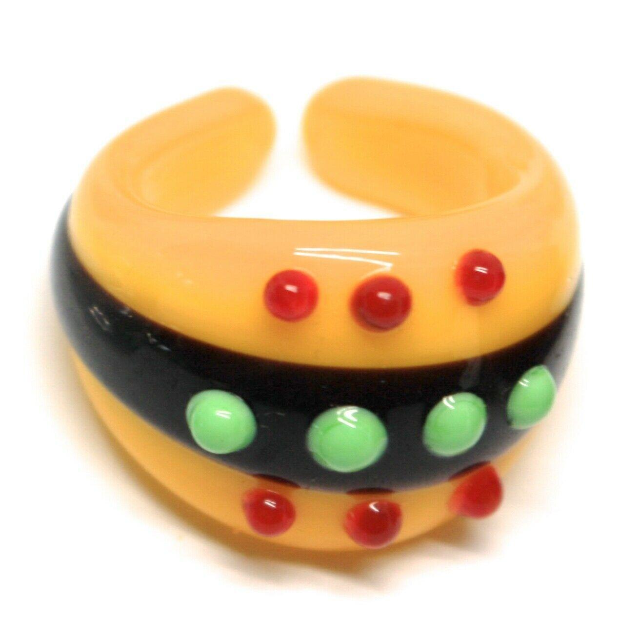 Ring Antica Murrina, Murano Glass, Black, Yellow, Three Row, Polka dot Embossed