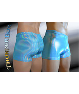 Turquoise Reflective Hologram Nylon Spandex Mens, Womens Gladiator Short... - $25.00