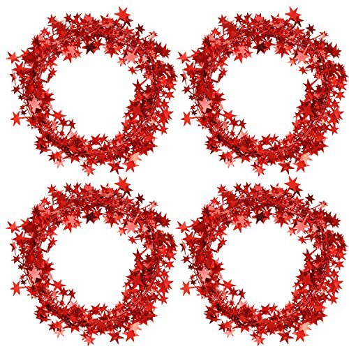 Bememo 4 Pack 16 Feet Star Shaped Garland Red Tinsel Wire Garland Tinsel Star Br