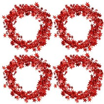Bememo 4 Pack 16 Feet Star Shaped Garland Red Tinsel Wire Garland Tinsel Star Br image 1