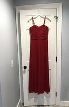 DAVIDS BRIDAL 4 Red Chiffon Ruched Bodice Ruffled Formal/Bridesmaid Dress - $74.24
