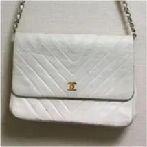 Auth CHANEL Shoulder Bag White Matelasse Vintage Chevron Classic Flap Logo B2602 - $722.70