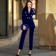 Women's Brand Designer Blue Velvet Embroidered Wear To Work Fashion Blazer Pant  image 2