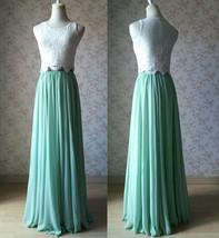 Two Piece Bridesmaid Dress Chiffon Skirt Sleeveless Crop Lace Top Green Wedding image 1